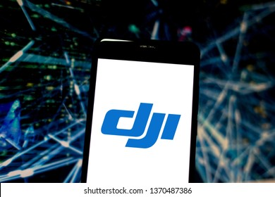 April 15, 2019, Brazil. DJI logo on the mobile device. DJI is a Chinese technology company, known for manufacturing drones.