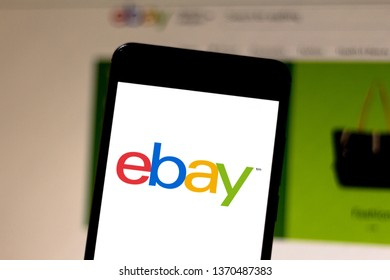 April 15, 2019, Brazil. EBay logo on the mobile device. eBay is an ecommerce company in the United States. It is the largest site in the world for sale and purchase of goods.