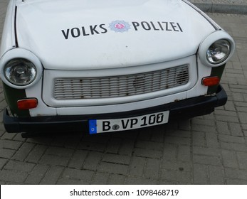 April 16, 2011 - Berlin,symbols of the East German police on the doors and bonnet of a Trabant car