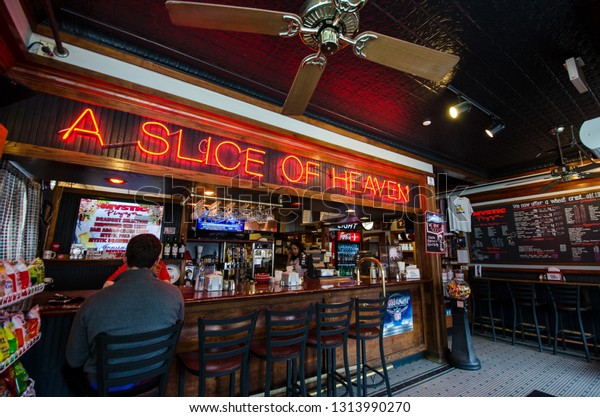 APRIL 16 2017 - MYSTIC, CT: Inside Mystic Pizza restaurant in Mystic, Connecticut. This restaurant is popular with tourists.