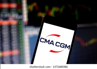 April 16, 2019, Brazil. CMA CGM logo on the mobile device. CMA CGM is a French shipping and containerization company headquartered in Marseille.