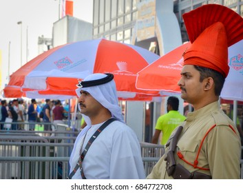 April 17, 2015: Men of the Bahrain Police Force dressed in period uniforms at an exhibit during the Formula One Grand Prix at the Bahrain International Circuit.