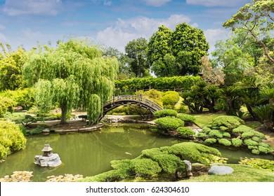 APRIL 17, 2017 - SAN MARINO, CA. USA - Huntington Botanical Japanese Garden bridge. Taken on April 17, 2017.