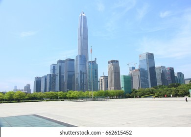 April 17, 2017 – Skyline of Shenzhen, China Shenzhen is located in southern China next to Hong Kong and it has become one of the most important technology and innovation center in China