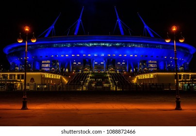 April 17, 2018 St. Petersburg, Russia. Stadium St. Petersburg Arena where the matches of the FIFA World Cup 2018 and the European Football Championship 2020 will be held.