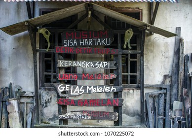April 17 2018 Yogyakarta : house after the eruption of volcano Merapi in 2010. objects displayed for historical learning in Indonesia