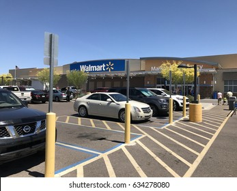 APRIL 17 - CAVE CREEK, AZ: Exterior facing the front of the only Walmart Super Center store in Cave Creek, Arizona on April 17, 2017.