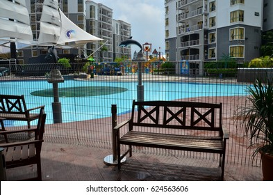 APRIL 18, 2017 - Gold Coast Malacca, MALAYSIA. Private water theme park resort and hotel provides recreational park for families.