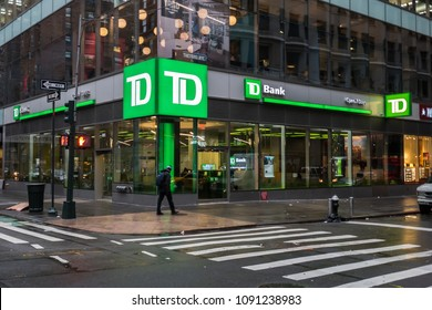 April 18, 2018 - New York, NY. Exterior of TD Waterhouse bank in New York city.