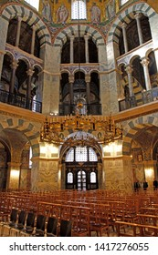 April 18, 2019 - Aachen, Germany: Interior of the Palatine Chapel in the Imperial Cathedral in Aachen, Germany