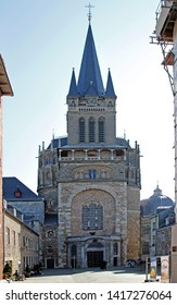 April 18, 2019 - Aachen, Germany: people are walking at Aachen cathedral in Germany