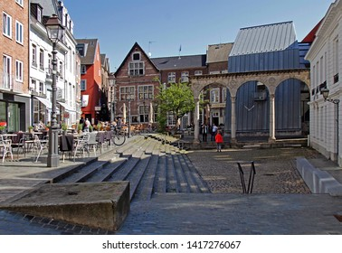 April 18, 2019 - Aachen, Germany: square in the old town of Aachen with unidentified people