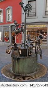 April 18, 2019 - Aachen, Germany: unusual fountain Puppenbrunnen by Bonifatius Stirnberg in the german city Aachen