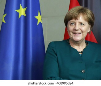 APRIL 19, 2016 - BERLIN: German Chancellor Angela Merkel at a press conference after a meeting with the president of the Palestinian National Authority, Chanclery.