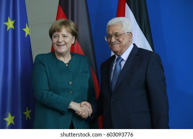 APRIL 19, 2016 - BERLIN: German Chancellor Angela Merkel, the president of the Palestinian National Authority, Mahmud Abbas at a press conference after a meeting, Chanclery.