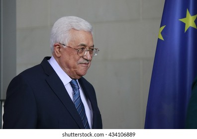 APRIL 19, 2016 - BERLIN: the president of the Palestinian National Authority, Mahmud Abbas at a press conference after a meeting with the German Chancellor, Chanclery.