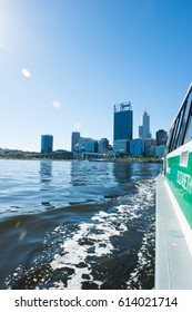 April 2, 2017: Scenic skyline of Perth, capital of Western Australia at the Swan River regional headquarter for mining, finance and insurance companies, view from ferry approaching Elizabeth Quay.
