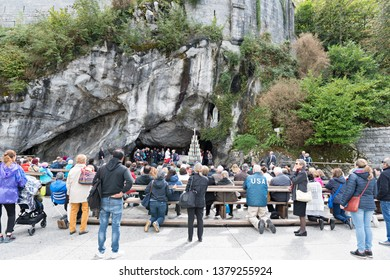 April 2, 2019 -France - Lourdes - General views of the Shrine with the parishioners preparing to pray at the special Mass of the Virgin Our Lady of Lourdes