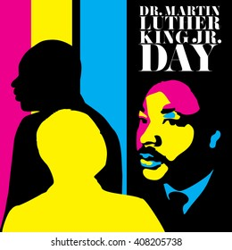 April 20, 2016: Abstract illustrations of a portrait of Dr. Martin Luther King, Jr., on a black background.