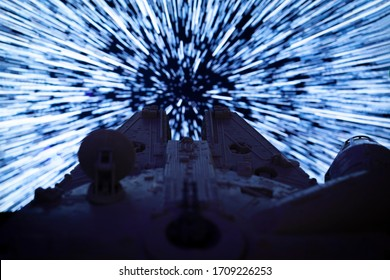 APRIL 20 2020: Star Wars Millenium Falcon warping into hyperspace - vintage Kenner vehicle