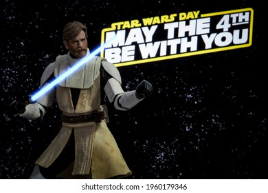APRIL 20 2021: May the 4th Star Wars Day concept - General Obi wan Kenobi from the Clone Wars - Hasbro action figure