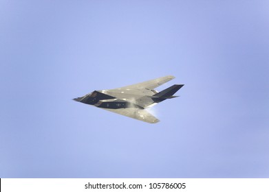 APRIL 2007 - F-117A Nighthawk Stealth Jet Fighter breaking the sound barrier as it flies over the 42nd Naval Base Ventura County (NBVC) Air Show at Point Mugu, Ventura County, Southern California.