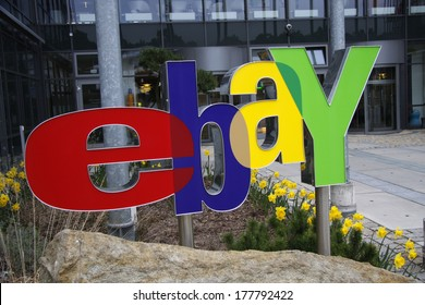 "APRIL 2008 - KLEINMACHNOW: the logo of the internet company ""Ebay"" in front of the company's German headquarters in Kleinmchnow, near Berlin."
