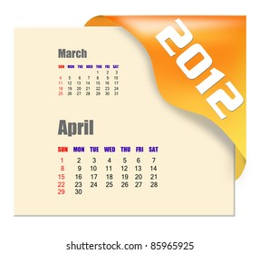 April of 2012 calendar