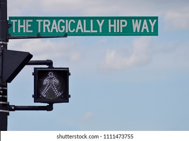 """April 2012 in Kingston, Ontario, Canada.  Barrack street was renamed """"The Tragically Hip Way"""" to honor the hometown band and correct a typo when the original sign omitted """"The"""" before the band name."""