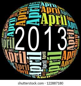 April 2013 info-text graphics arrangement on black background