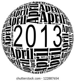April 2013 info-text graphics arrangement on white background