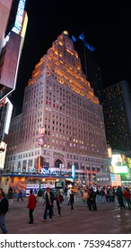 April 2014: Night photo from iconic and famous Times square in downtown Manhattan, New York city, United States of America