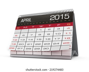April 2015 calendar page isolated on white.