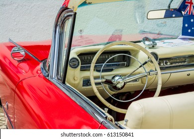 April 2016: Cadillac Convertible 1950 parked on Sitges (Barcelona)