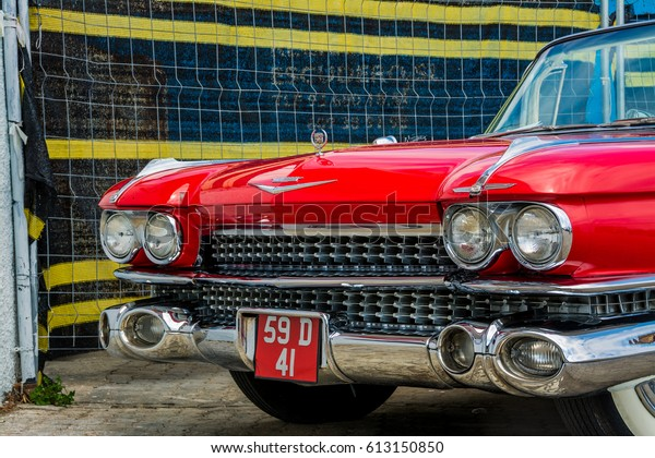 2016 Cadillac Convertible >> April 2016 Cadillac Convertible 1950 Parked Stock Image