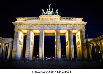 April 2017 - Berlin, Germany; The Brandenburger Tor at the blue hour in Berlin. The Brandenbruger Tor is the most important monument in Germany.
