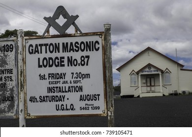 April 2017, Gatton, Australia, the Masonic temple in Gatton does not have too many opening hours as advertised on the sign