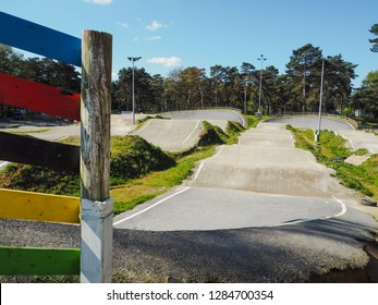 April 2017 - Heusden-Zolder, Belgium: The BMX race track at circuit Zolder, host of the UCI BMX world championships in 2015 and 2019, and 2019 EU Cup