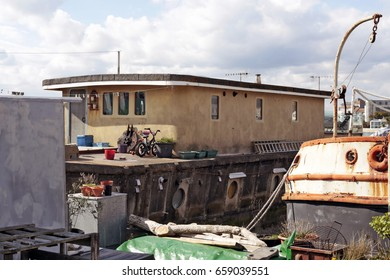 April, 2017. Houseboat on the banks of the river Adur, Shoreham-by-Sea, West Sussex, England, UK. View the houseboats at the Riverbank Moorings in Shoreham.