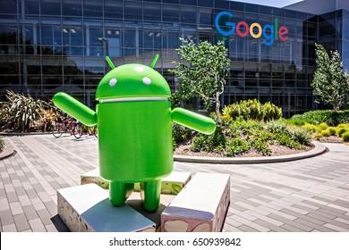 April 2017 San Francisco California - Google Corporate Headquarters and Logo at googleplex