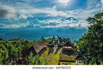 April 2018. Beautiful view on Agung volcano from Pura Lempuyang temple. Bali island.Indonesia.