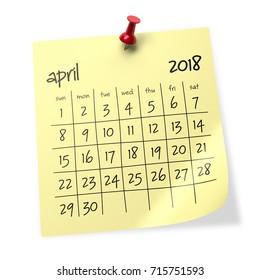 April 2018 Calendar. Isolated on White Background. 3D Illustration