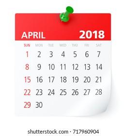April 2018 - Calendar. Isolated on White Background. 3D Illustration