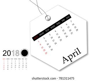 April 2018 - Calendar series for tag design