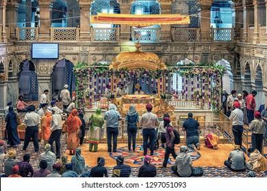 April 2018 - Delhi, India - Gurdwara Sis Ganj Sahib indian temple in Old Delhi