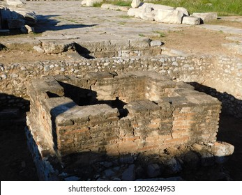 April 2018, Eleusis or Elefsina, Greece. The eschara (grid), an ancient altar used for the meat offerings to the gods of the underworld