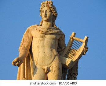 April 2018: Iconic statue of Apollo the guitar player in Academy of Athens, Athens historic center, Attica, Greece