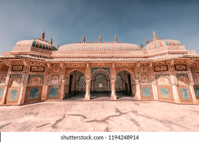 April 2018 - Jaipur, India - Architecture of the Amber fort in Jaipur in daytime