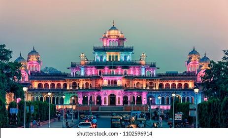 April 2018 - Jaipur, India - Facade of the Albert Hall museum at sunset in Jaipur