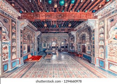 April 2018 - Jodhpur, Rajasthan, India - Inside Mehrangarh fort in Jodhpur